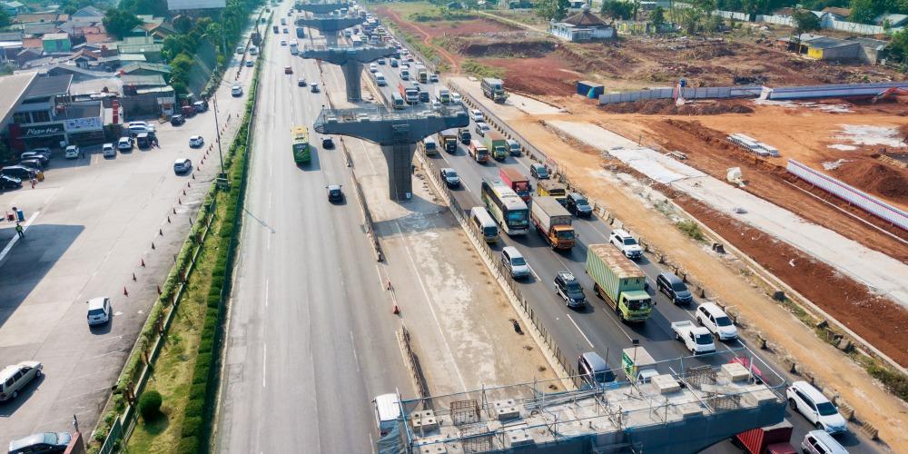ジャカルタ-チカンペック第二高速道路の工事