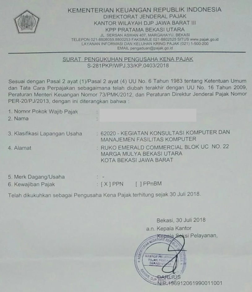 Surat Pengukuhan PKP