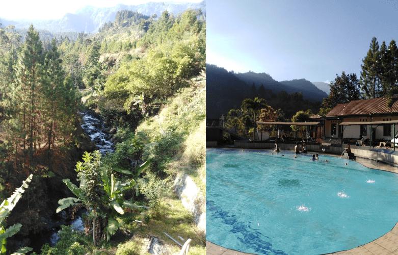 Guciの渓谷と温泉プール